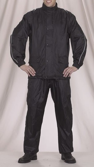 2 Piece Motorcycle Rain Suit Black