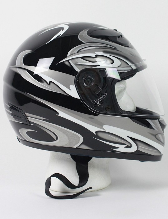 DOT Silver Graphic Full Face Motorcycle Helmet