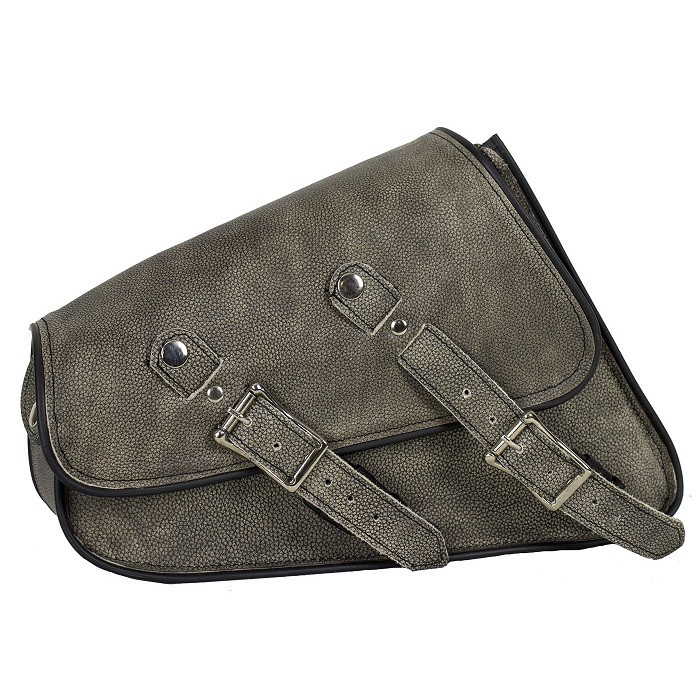 Brown Leather Motorcycle Swing Arm Bag - Right Side