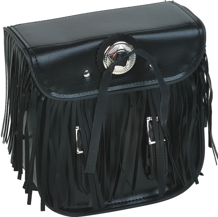 Motorcycle Sissy Bar Bag With Braid, Fringes, Conchos