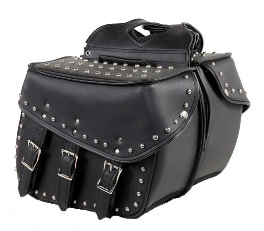 Studded Motorcycle Saddlebags With 3 Buckle Straps