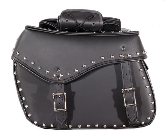 Studded Motorcycle Saddlebags, Quick Release Straps