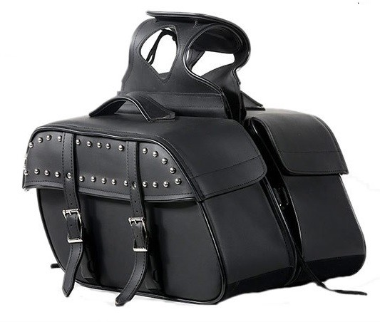 Studded Zip-Off Motorcycle Saddlbags with Handles