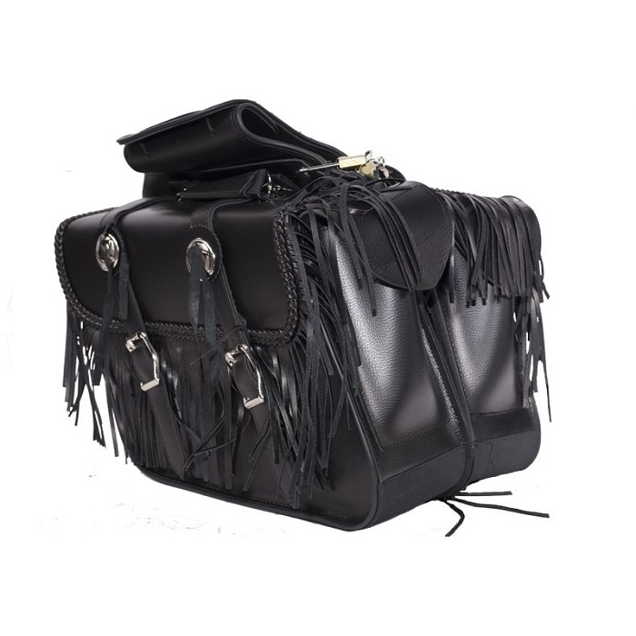 Motorcycle Saddlebags With Braid and Tassels