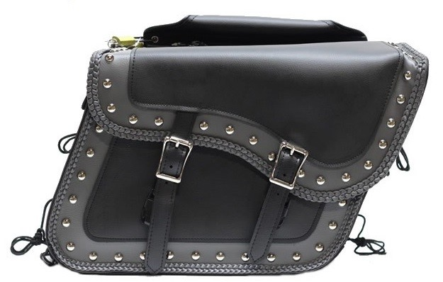 PVC Studded Motorcycle Saddlebags With Braid