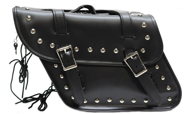 Slanted Style Studded Motorcycle Saddlebags