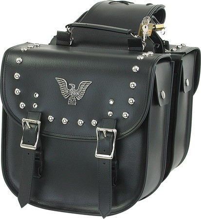 Motorcycle Saddlebags With Studs and Eagle Emblem