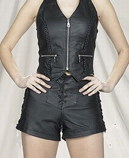 Womens Leather Halter Top With Braid & Zippers