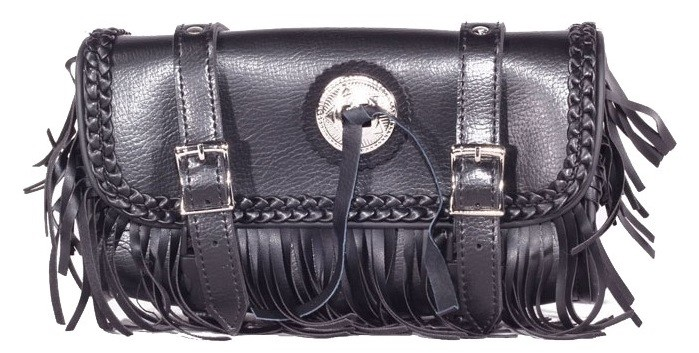 "10"" Motorcycle Tool Bag With Braid, Fringes & Concho"