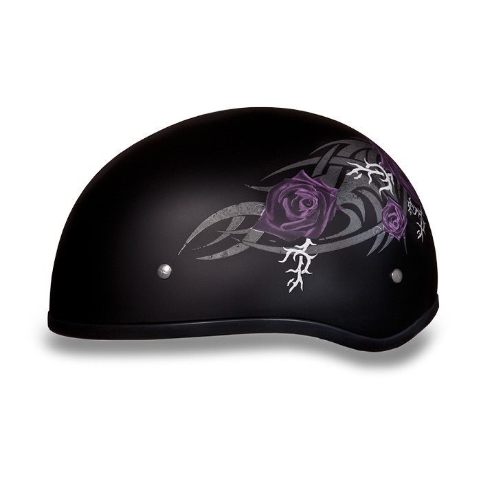 DOT Women's Purple Rose Motorcycle Half Helmet