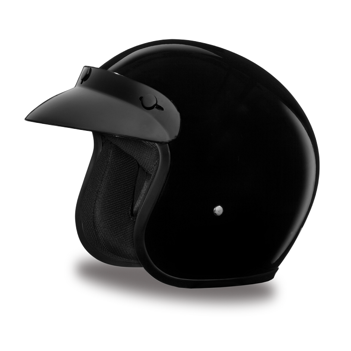 DOT Gloss Black 3/4 Open Face Motorcycle Helmet