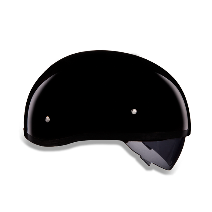 DOT Gloss Black Motorcycle Half Helmet with Sun Shield