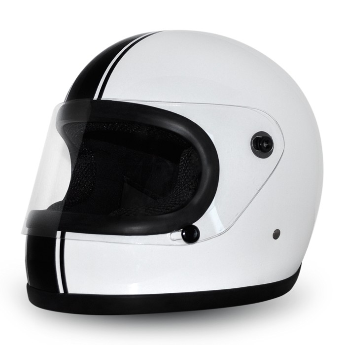 White Full Face Motorcycle Helmet Black Pin Stripes