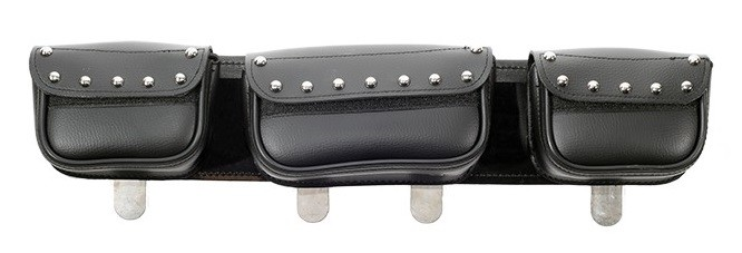 Studded Motorcycle Windshield Bag with Multiple Pockets